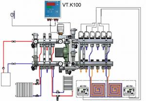 Схема насосно-смесительного узла водяного теплого пола