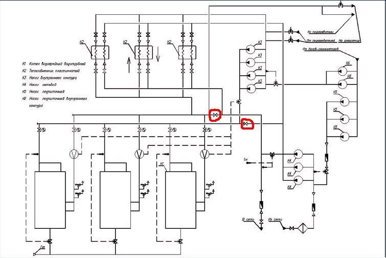 Система теплоснабжения- открытая, топливо- газ.  Подключение котлов- по независимой схеме.